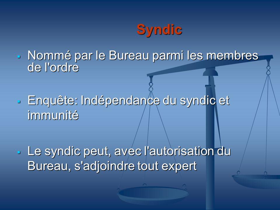 Syndic Nommé par le Bureau parmi les membres de l'ordre Nommé par le Bureau parmi les membres de l'ordre Enquête: Indépendance du syndic et immunité E
