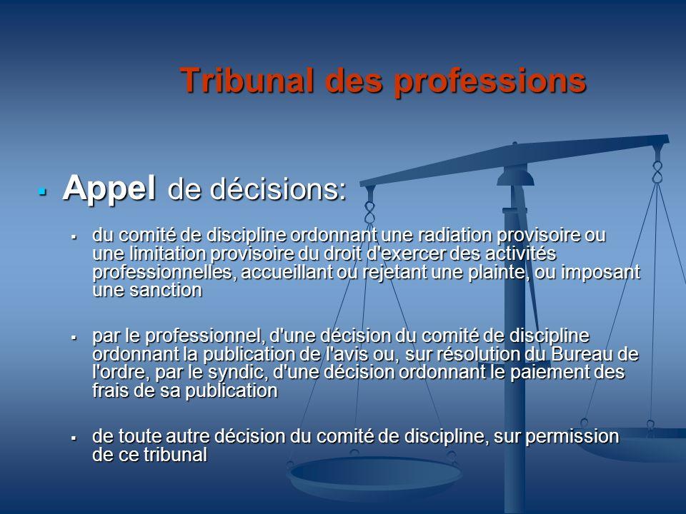 Tribunal des professions Appel de décisions: Appel de décisions: du comité de discipline ordonnant une radiation provisoire ou une limitation provisoi
