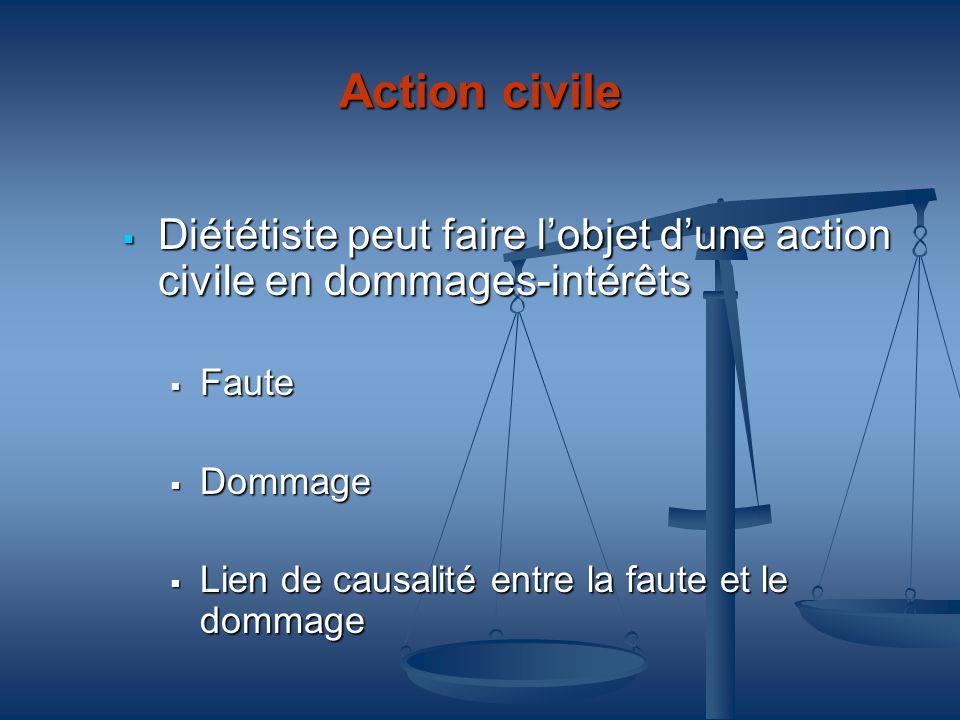Action civile Diététiste peut faire lobjet dune action civile en dommages-intérêts Diététiste peut faire lobjet dune action civile en dommages-intérêt