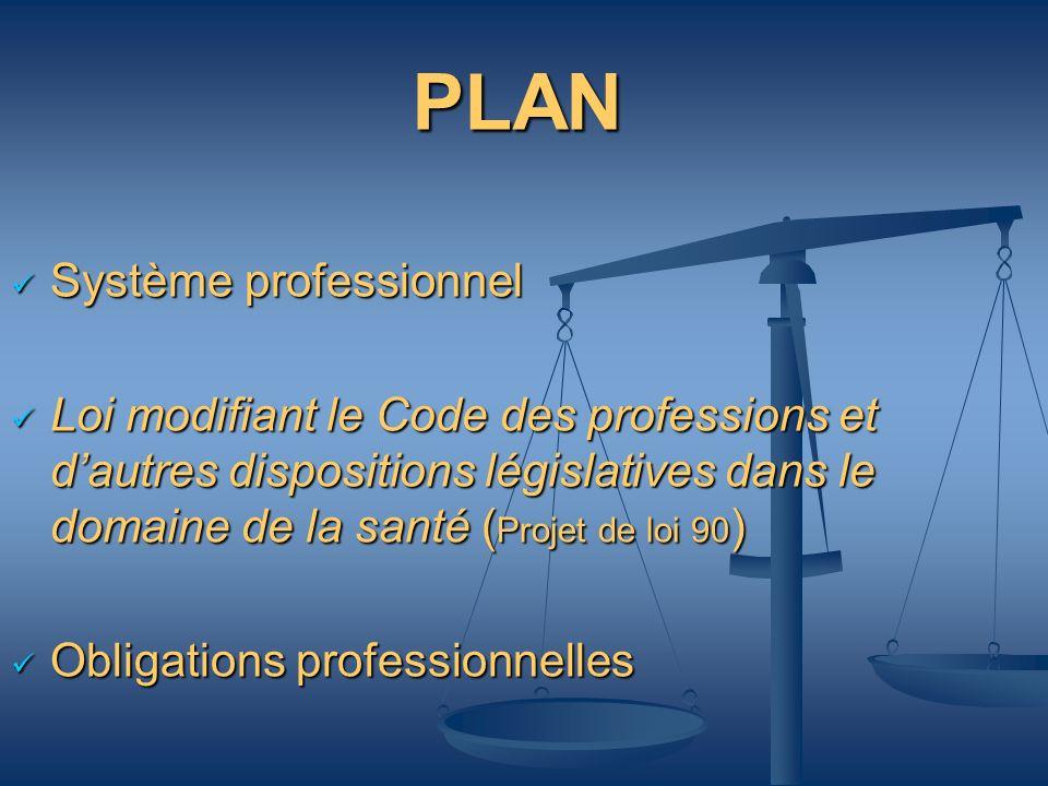 PLAN Système professionnel Système professionnel Loi modifiant le Code des professions et dautres dispositions législatives dans le domaine de la sant