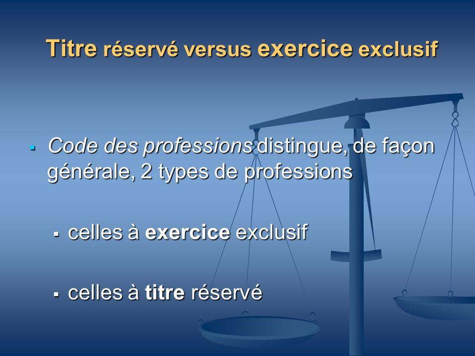 Titre réservé versus exercice exclusif Code des professions distingue, de façon générale, 2 types de professions Code des professions distingue, de fa