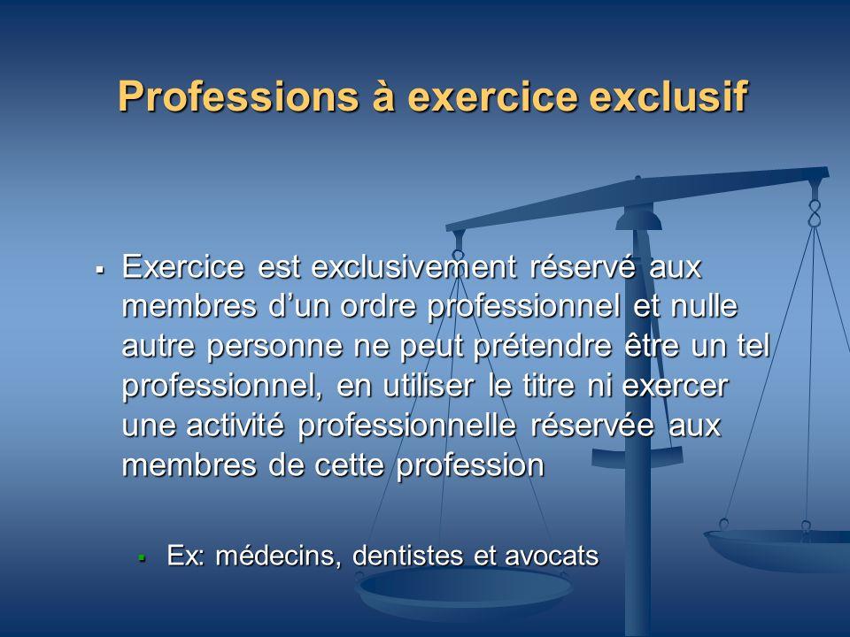 Professions à exercice exclusif Exercice est exclusivement réservé aux membres dun ordre professionnel et nulle autre personne ne peut prétendre être