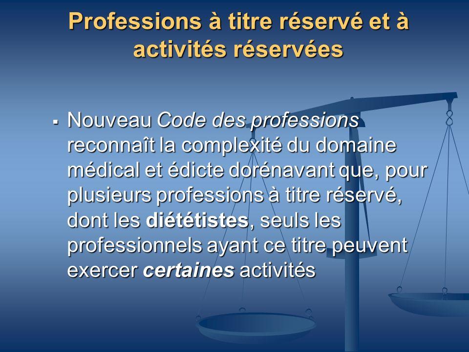 Professions à titre réservé et à activités réservées Nouveau Code des professions reconnaît la complexité du domaine médical et édicte dorénavant que,