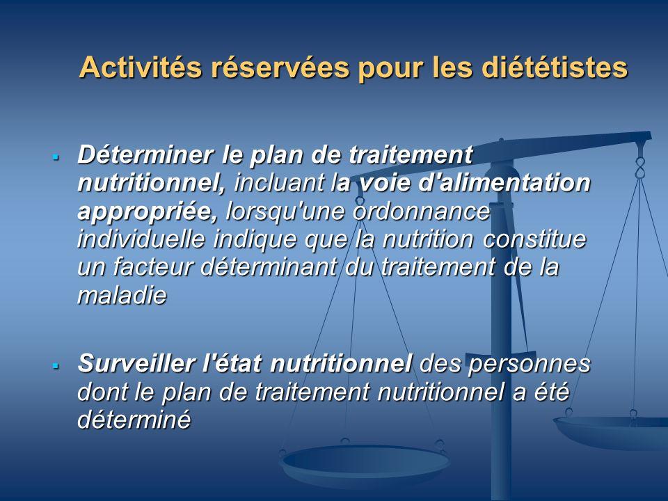 Activités réservées pour les diététistes Déterminer le plan de traitement nutritionnel, incluant la voie d'alimentation appropriée, lorsqu'une ordonna