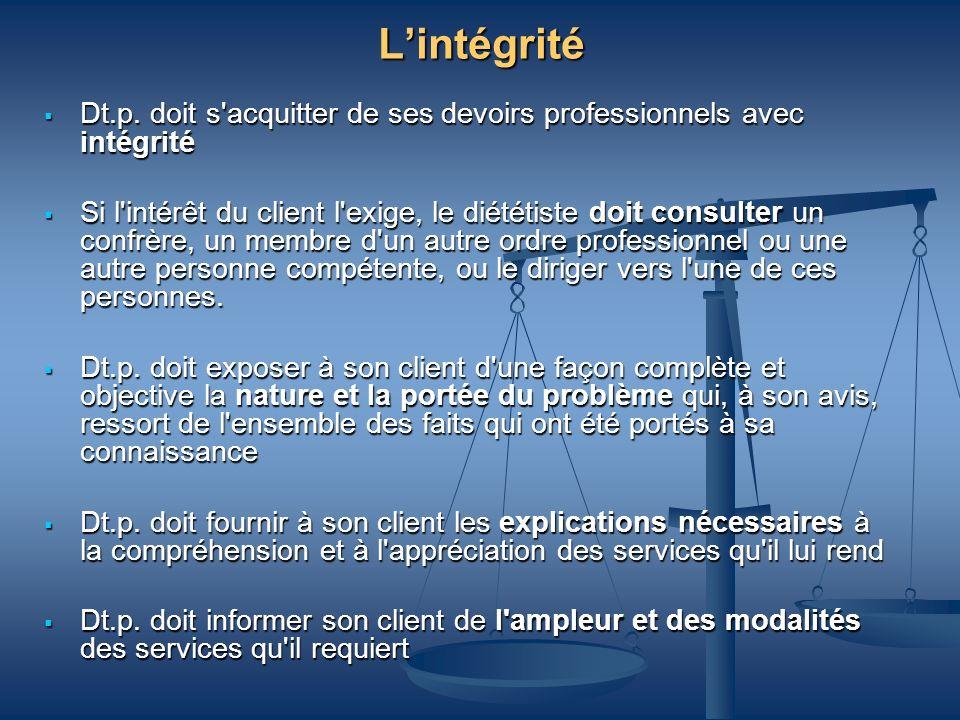 Lintégrité Dt.p. doit s'acquitter de ses devoirs professionnels avec intégrité Dt.p. doit s'acquitter de ses devoirs professionnels avec intégrité Si