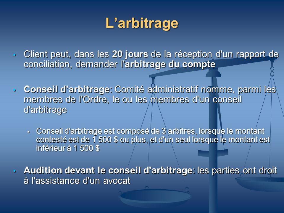 Larbitrage Client peut, dans les 20 jours de la réception d'un rapport de conciliation, demander l'arbitrage du compte Client peut, dans les 20 jours