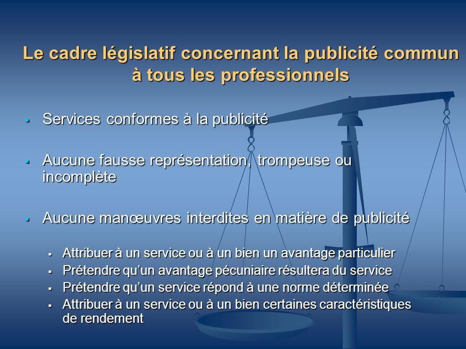 Le cadre législatif concernant la publicité commun à tous les professionnels Services conformes à la publicité Services conformes à la publicité Aucun