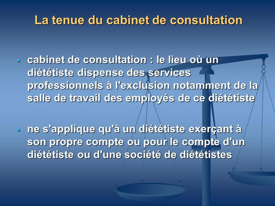 La tenue du cabinet de consultation cabinet de consultation : le lieu où un diététiste dispense des services professionnels à l'exclusion notamment de