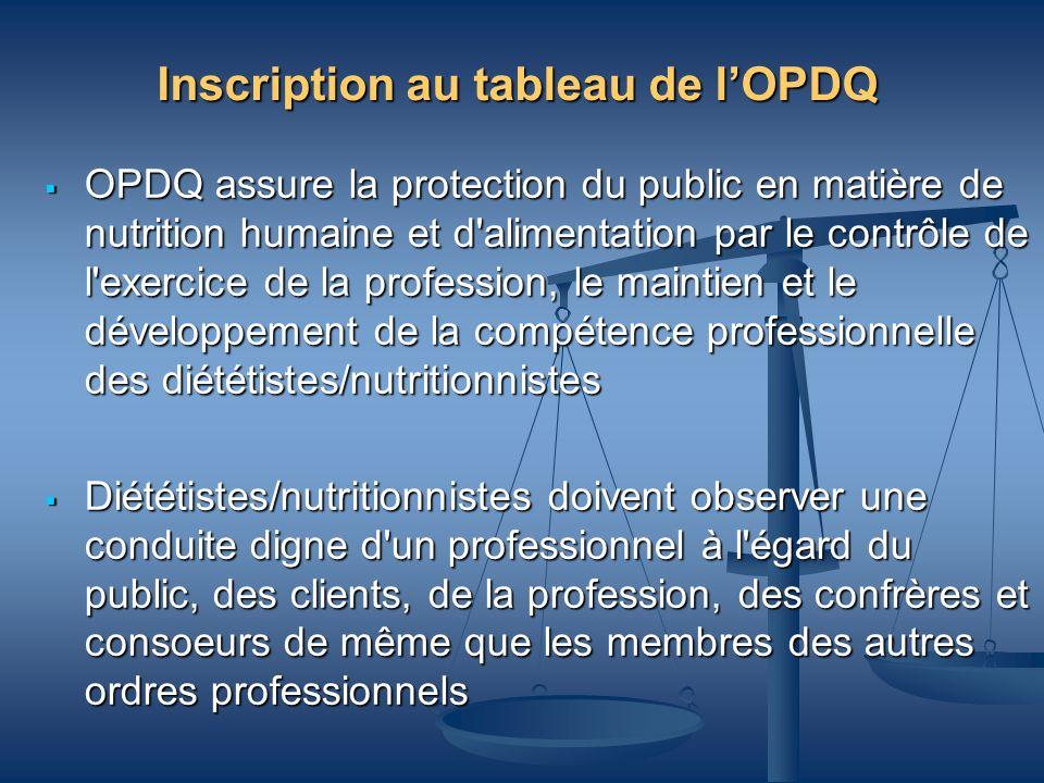 Inscription au tableau de lOPDQ OPDQ assure la protection du public en matière de nutrition humaine et d'alimentation par le contrôle de l'exercice de