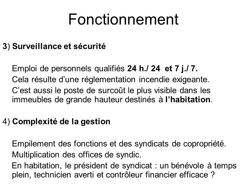 Fonctionnement 3) Surveillance et sécurité Emploi de personnels qualifiés 24 h./ 24 et 7 j./ 7. Cela résulte dune réglementation incendie exigeante. C