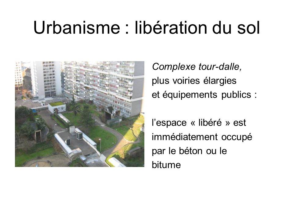 Urbanisme : libération du sol Complexe tour-dalle, plus voiries élargies et équipements publics : lespace « libéré » est immédiatement occupé par le b