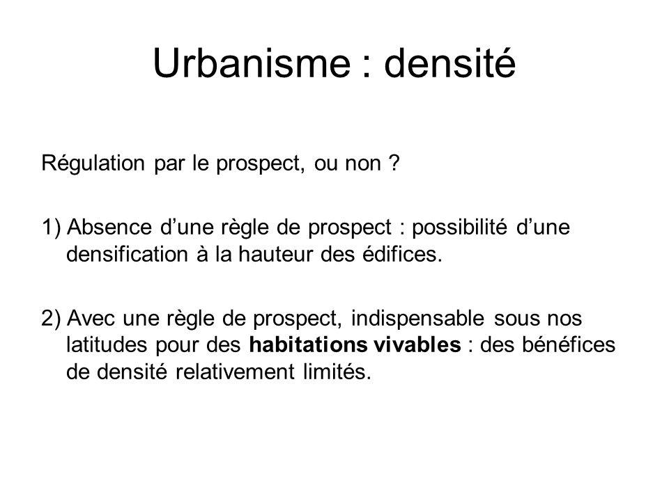 Urbanisme : densité Régulation par le prospect, ou non ? 1) Absence dune règle de prospect : possibilité dune densification à la hauteur des édifices.
