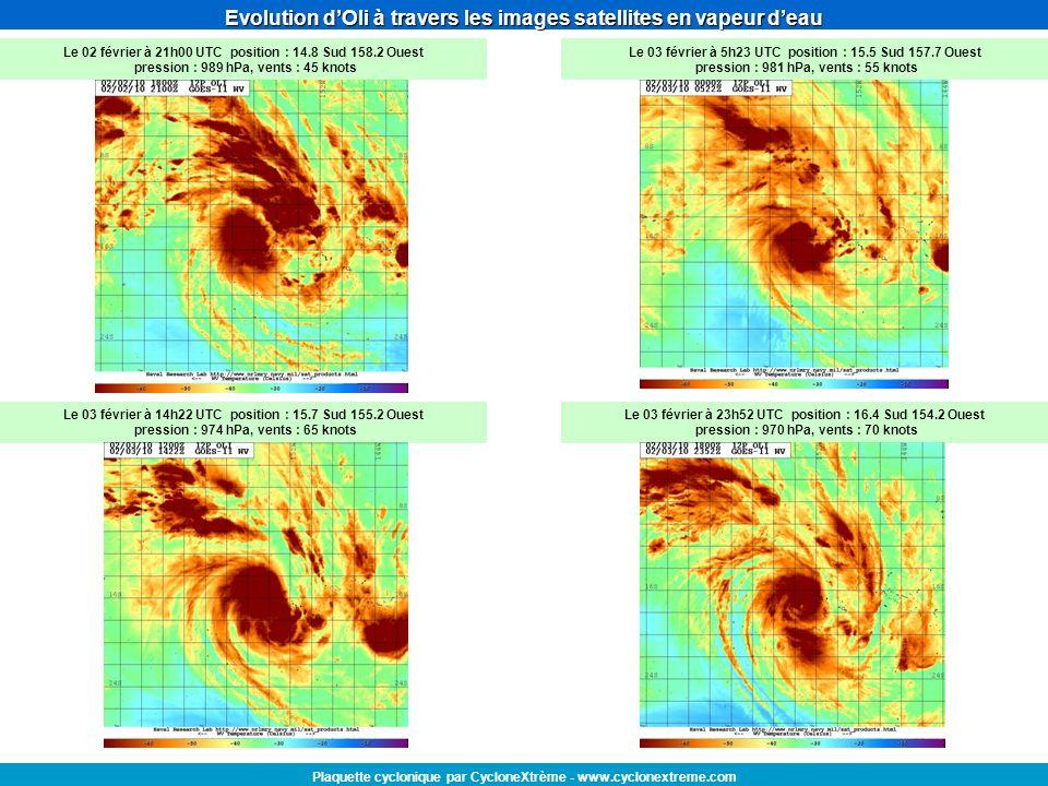 Evolution dOli à travers les images satellites en vapeur deau Plaquette cyclonique par CycloneXtrème - www.cyclonextreme.com Le 02 février à 21h00 UTC