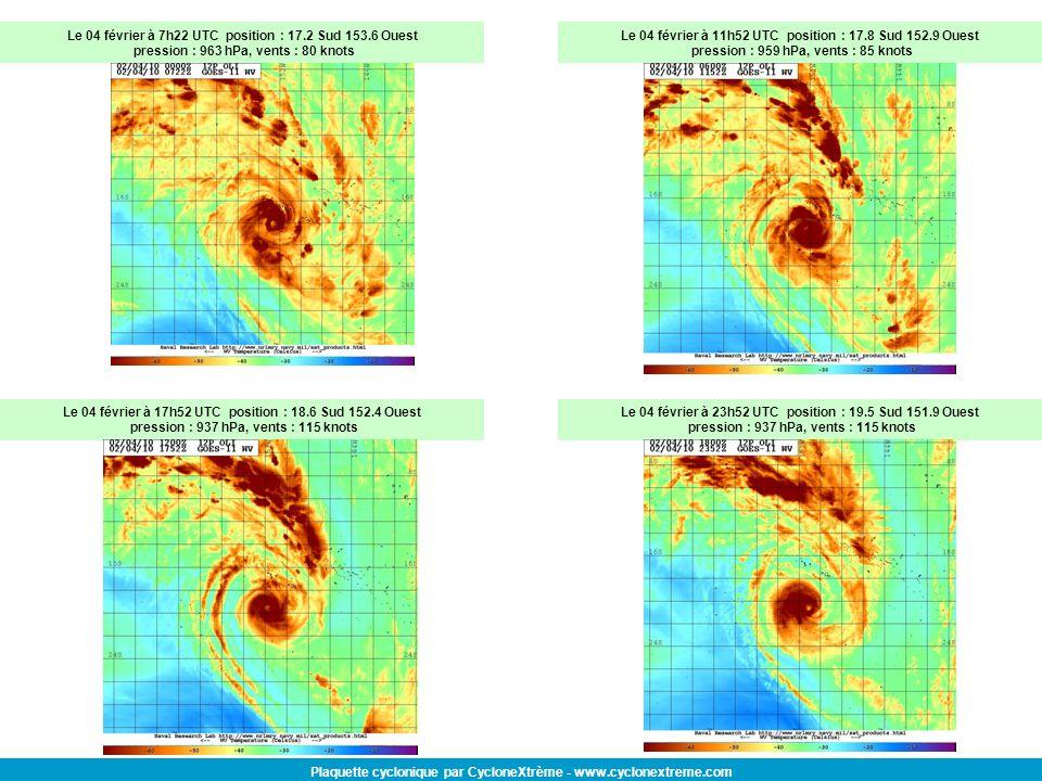 Plaquette cyclonique par CycloneXtrème - www.cyclonextreme.com Le 04 février à 7h22 UTC position : 17.2 Sud 153.6 Ouest pression : 963 hPa, vents : 80