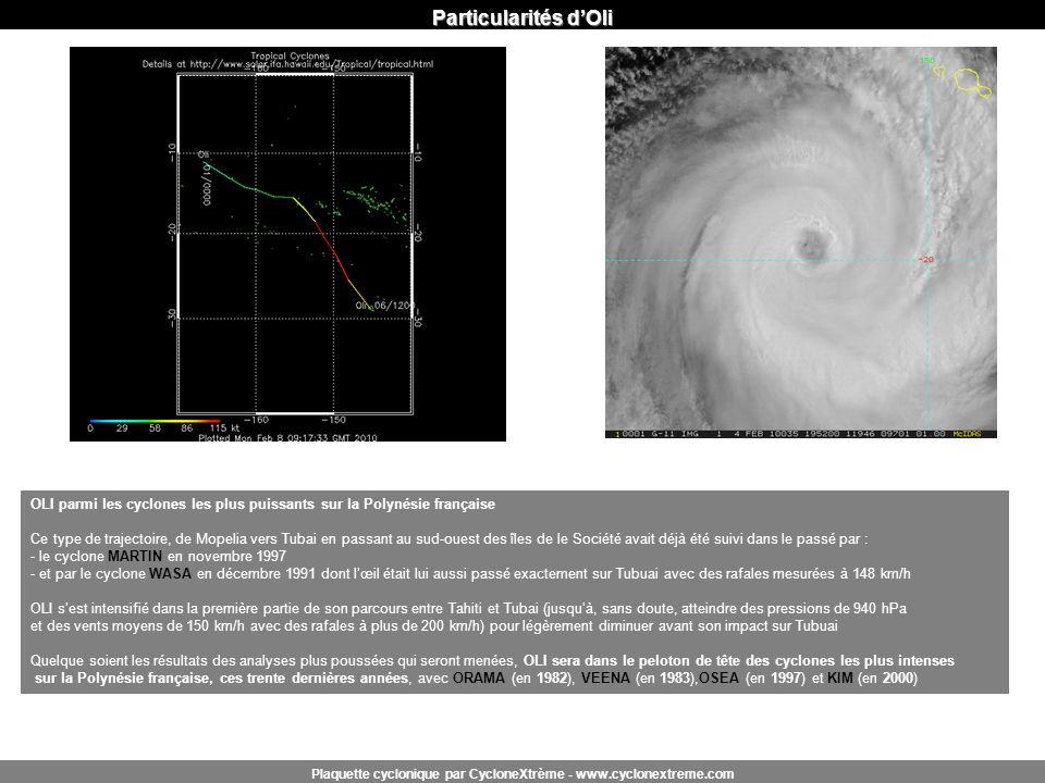 Particularités dOli Plaquette cyclonique par CycloneXtrème - www.cyclonextreme.com OLI parmi les cyclones les plus puissants sur la Polynésie français