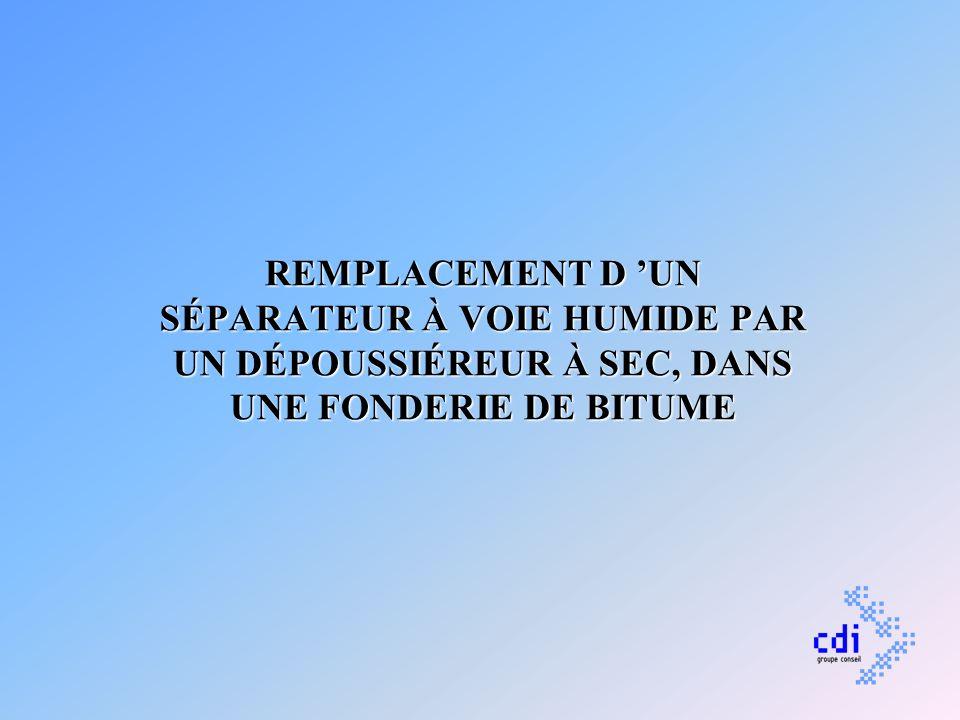 REMPLACEMENT D UN SÉPARATEUR À VOIE HUMIDE PAR UN DÉPOUSSIÉREUR À SEC, DANS UNE FONDERIE DE BITUME