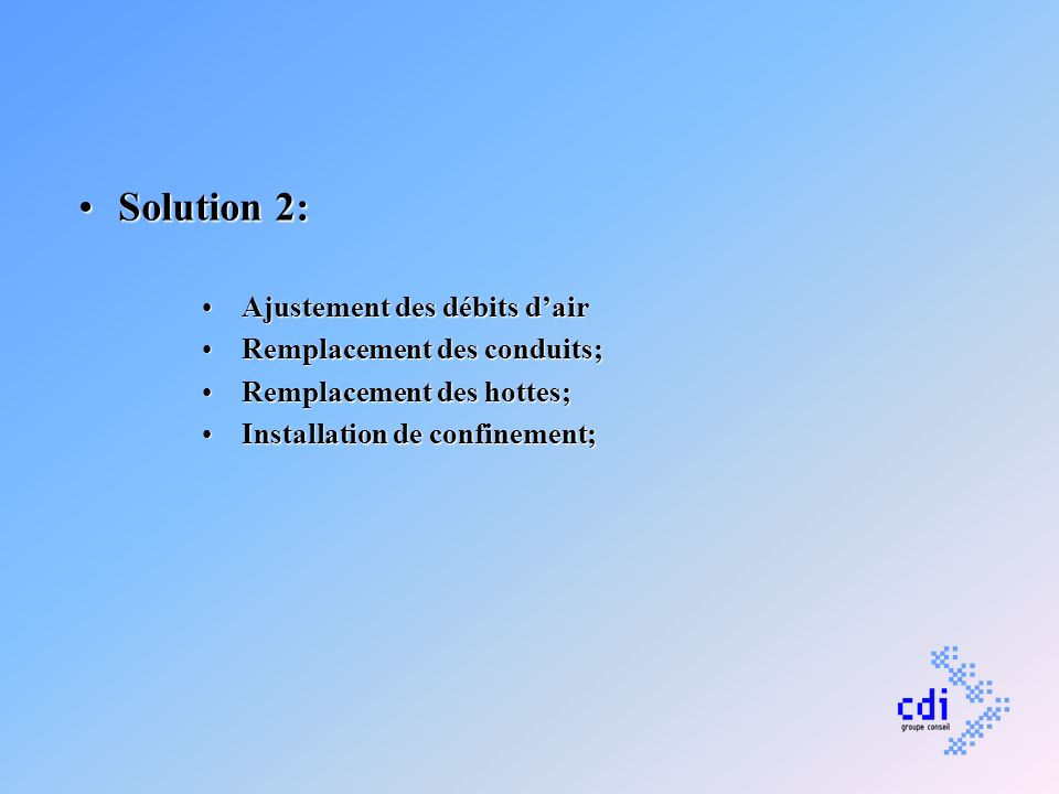 Solution 2:Solution 2: Ajustement des débits dairAjustement des débits dair Remplacement des conduits;Remplacement des conduits; Remplacement des hott