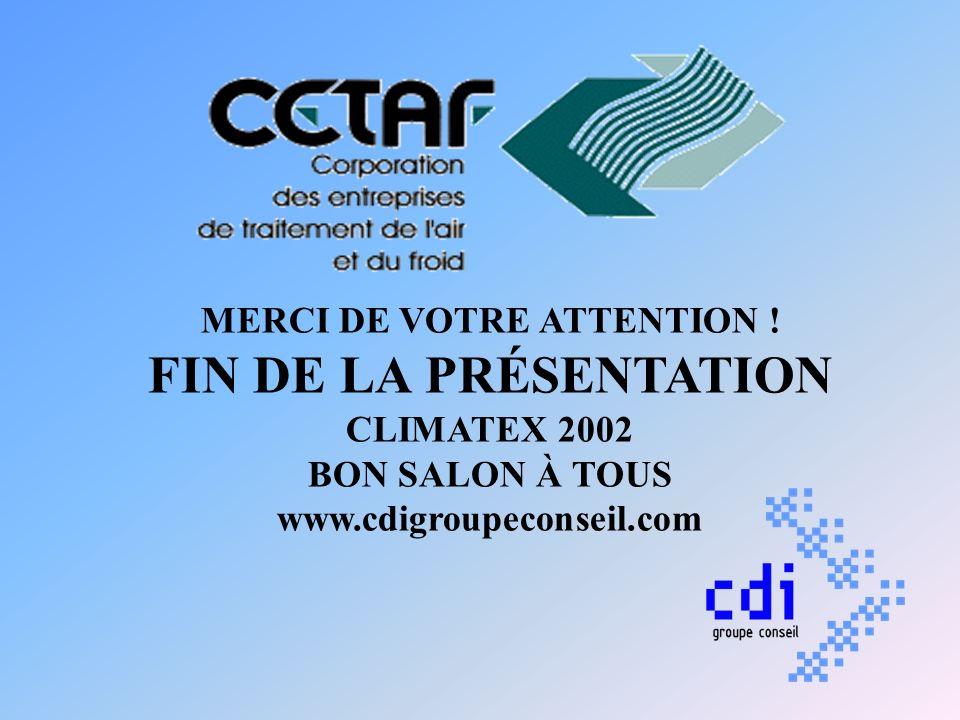 MERCI DE VOTRE ATTENTION ! FIN DE LA PRÉSENTATION CLIMATEX 2002 BON SALON À TOUS www.cdigroupeconseil.com