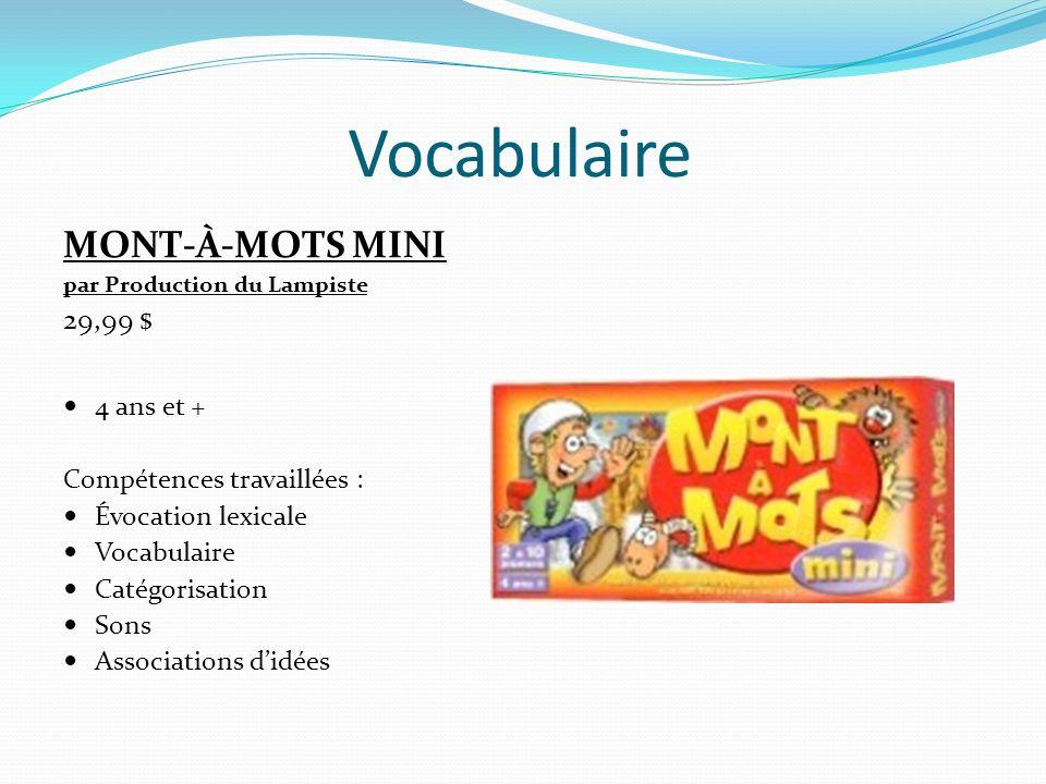 Vocabulaire TROUVE-MOI DE A À Z par Gladius 22,99 $ 7 ans et + Compétences travaillées : Vocabulaire Évocation lexicale à partir dune lettre et dun thème donnés
