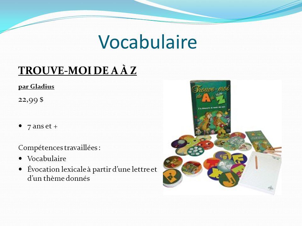 Vocabulaire COMPOSIO par TF1 34,99 $ 10 ans et + Compétences travaillées : Vocabulaire Orthographe dusage Composer des mots et essayer de découvrir ceux des autres