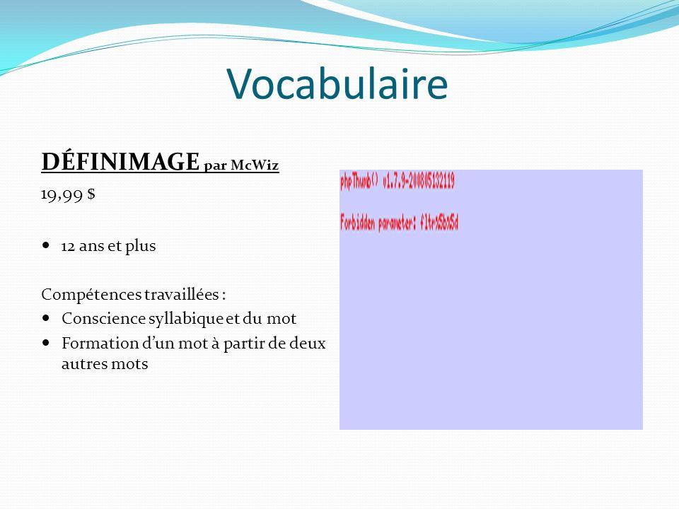 Vocabulaire TYPO par University Games 13,50 $ 8 ans et + Compétences travaillées : Ordre alphabétique Composition de mots Préfixes et suffixes