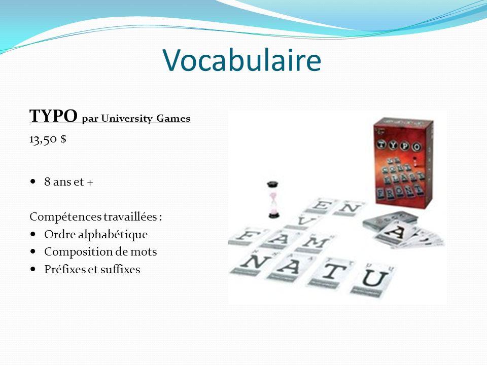 Vocabulaire FLIPPIT par Family Games 8,90 $ 6 ans et + Compétences travaillées : Apprentissage de lorthographe Formulation du mot Manipulation de lettres Évocation mentale du mot
