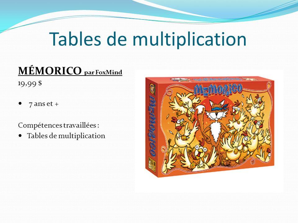 MONKEY MULTIPLIER par Learning Mates 15,99 $ 8 ans et + Compétences travaillées : Tables de multiplication