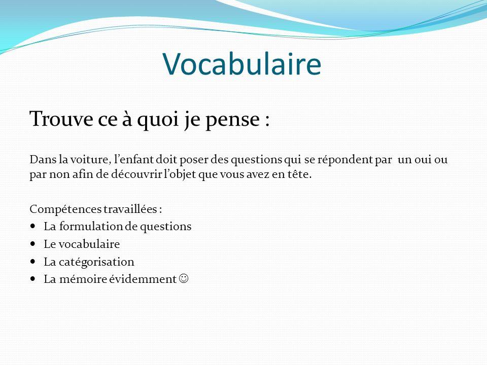 Vocabulaire Fabriquer un jeu de mémoire avec les mots de vocabulaire de la semaine.