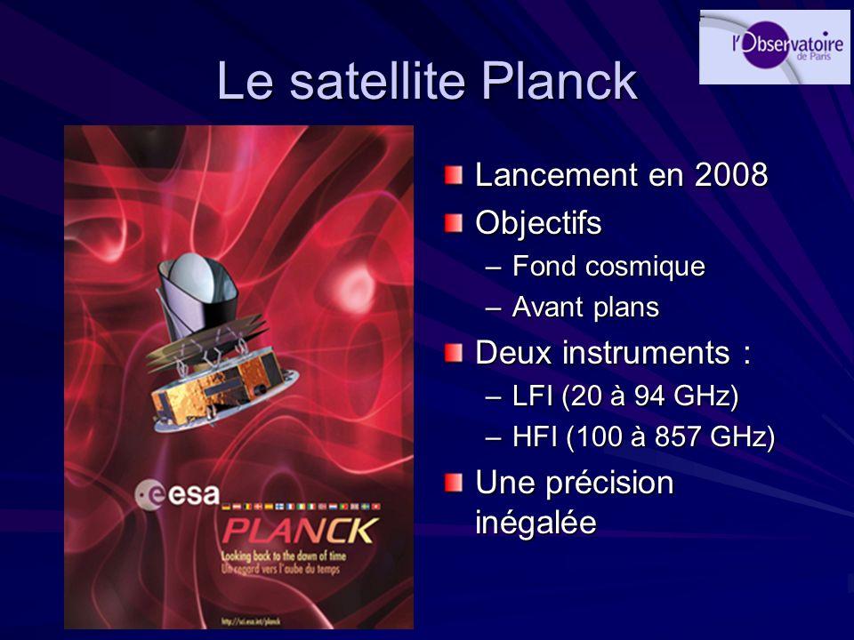 Le satellite Planck Lancement en 2008 Objectifs –Fond cosmique –Avant plans Deux instruments : –LFI (20 à 94 GHz) –HFI (100 à 857 GHz) Une précision i