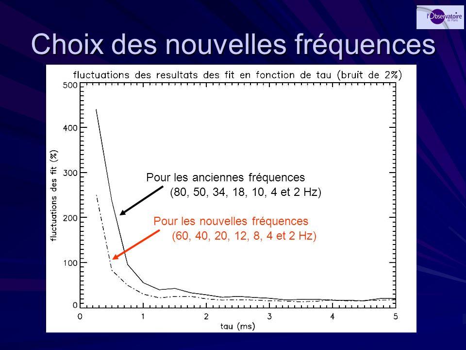 Choix des nouvelles fréquences Pour les anciennes fréquences Pour les nouvelles fréquences (80, 50, 34, 18, 10, 4 et 2 Hz) (60, 40, 20, 12, 8, 4 et 2