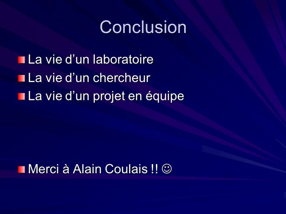 Conclusion La vie dun laboratoire La vie dun chercheur La vie dun projet en équipe Merci à Alain Coulais !! Merci à Alain Coulais !!