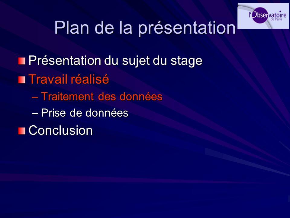 Plan de la présentation Présentation du sujet du stage Travail réalisé –Traitement des données –Prise de données Conclusion