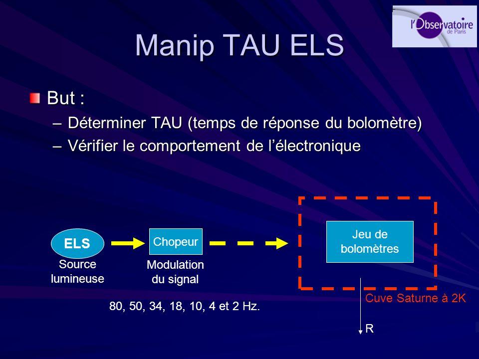 Manip TAU ELS But : –Déterminer TAU (temps de réponse du bolomètre) –Vérifier le comportement de lélectronique Chopeur Jeu de bolomètres ELS Modulatio