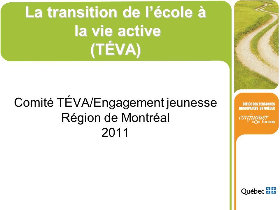 La transition de lécole à la vie active (TÉVA) Comité TÉVA/Engagement jeunesse Région de Montréal 2011