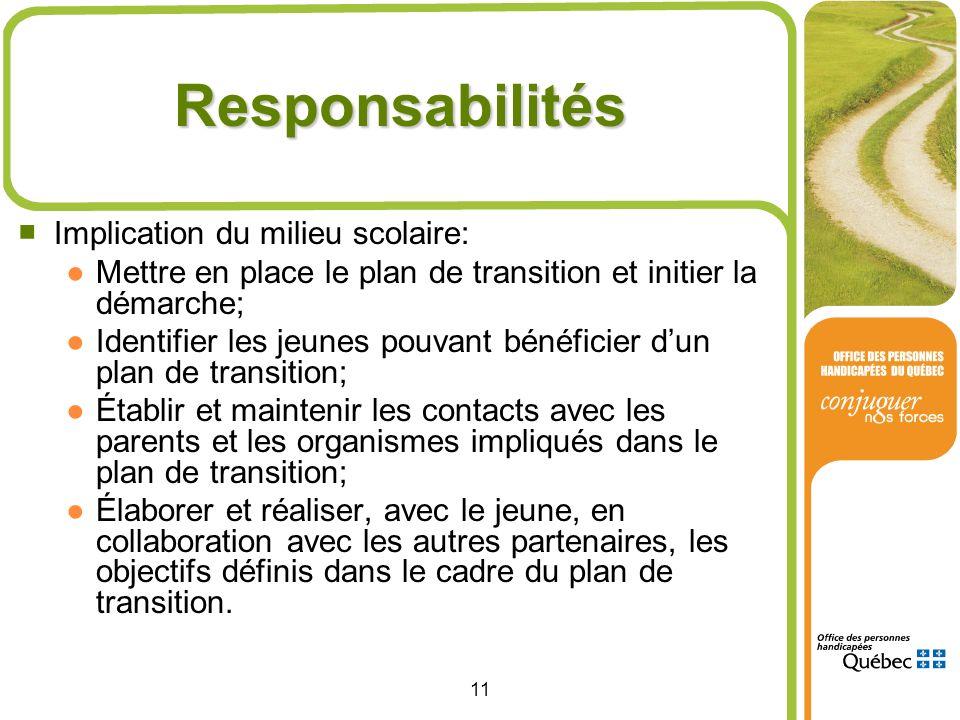 11 Responsabilités Implication du milieu scolaire: Mettre en place le plan de transition et initier la démarche; Identifier les jeunes pouvant bénéfic