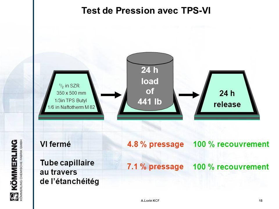 A.Lorin KCF17 Capacité de poids mort 10 kg 22 lb Quest ce dui rend le TPS si spécial? Test climatique: 80 °C (176 °F) Test periode:14 jours Resultat:p