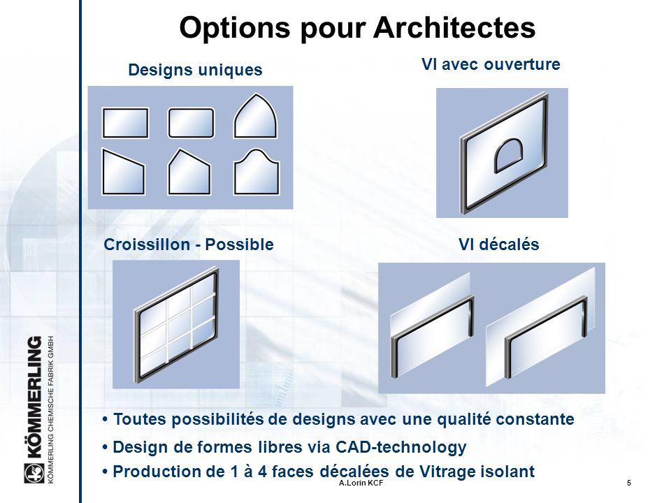 A.Lorin KCF5 Design de formes libres via CAD-technology Designs uniques Options pour Architectes Toutes possibilités de designs avec une qualité constante VI avec ouverture Croissillon - Possible Production de 1 à 4 faces décalées de Vitrage isolant VI décalés
