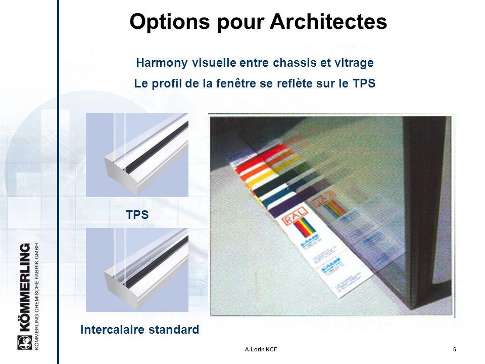 A.Lorin KCF6 Options pour Architectes Harmony visuelle entre chassis et vitrage Le profil de la fenêtre se reflète sur le TPS Intercalaire standard TPS