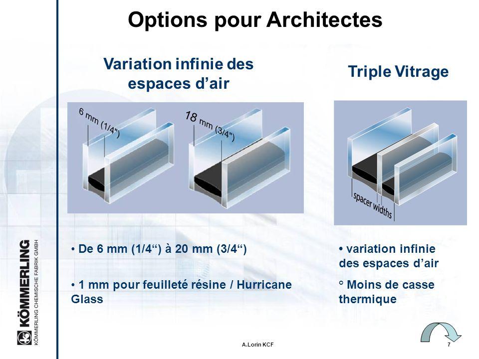 A.Lorin KCF7 Variation infinie des espaces dair Options pour Architectes De 6 mm (1/4) à 20 mm (3/4) 1 mm pour feuilleté résine / Hurricane Glass 18 Triple Vitrage variation infinie des espaces dair ° Moins de casse thermique