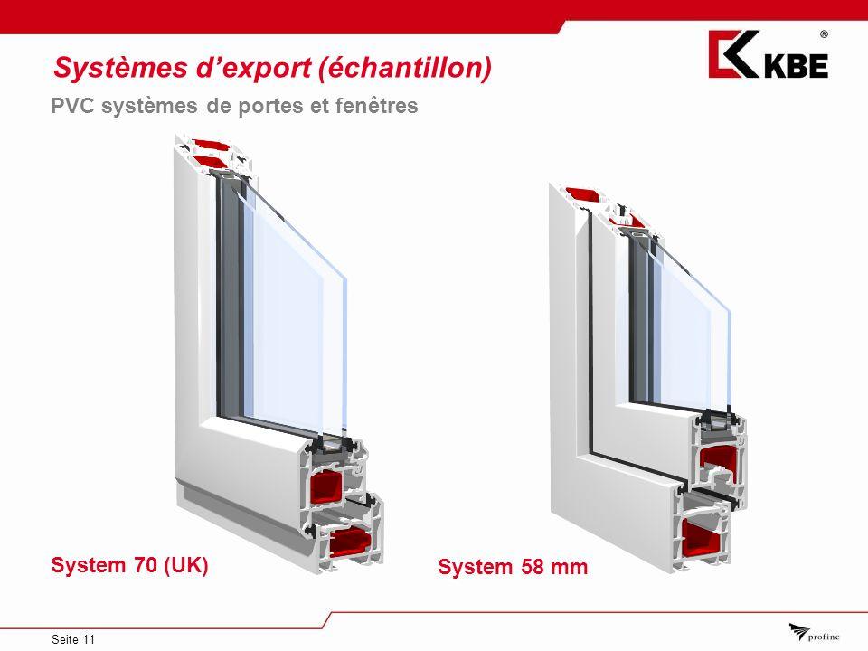 Seite 11 Systèmes dexport (échantillon) System 58 mm PVC systèmes de portes et fenêtres System 70 (UK)