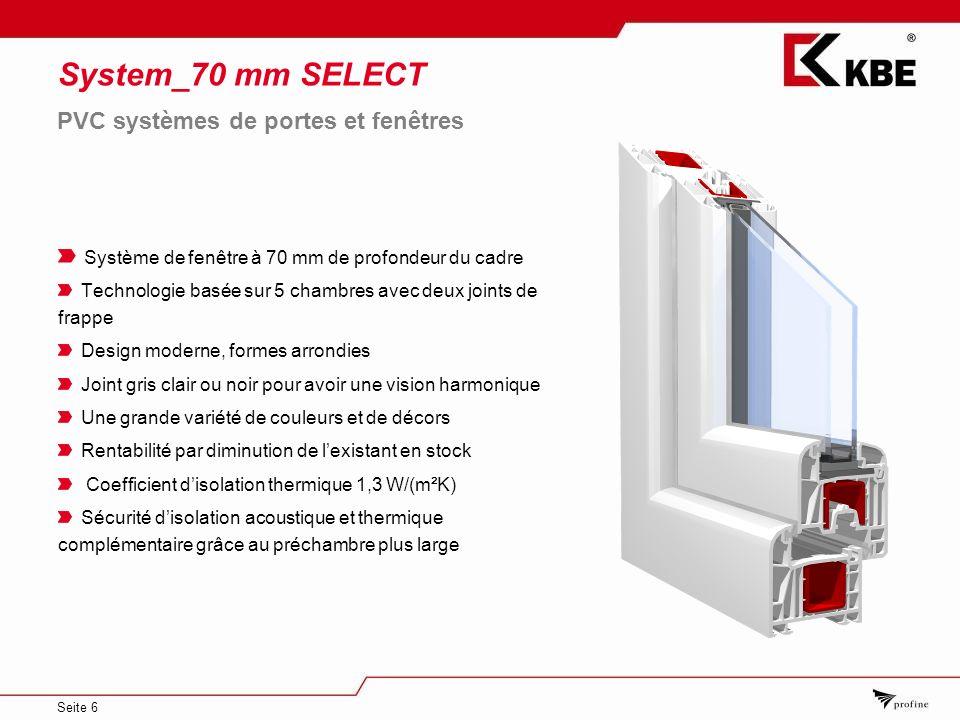 Seite 6 System_70 mm SELECT Système de fenêtre à 70 mm de profondeur du cadre Technologie basée sur 5 chambres avec deux joints de frappe Design moder