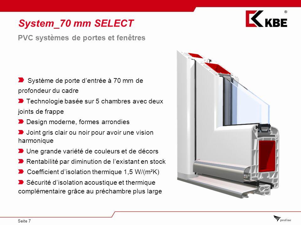 Seite 7 System_70 mm SELECT Système de porte dentrée à 70 mm de profondeur du cadre Technologie basée sur 5 chambres avec deux joints de frappe Design