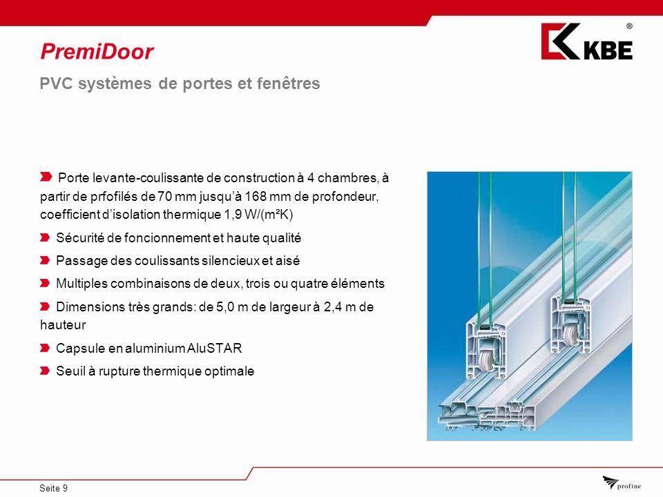 Seite 9 PremiDoor Porte levante-coulissante de construction à 4 chambres, à partir de prfofilés de 70 mm jusquà 168 mm de profondeur, coefficient diso