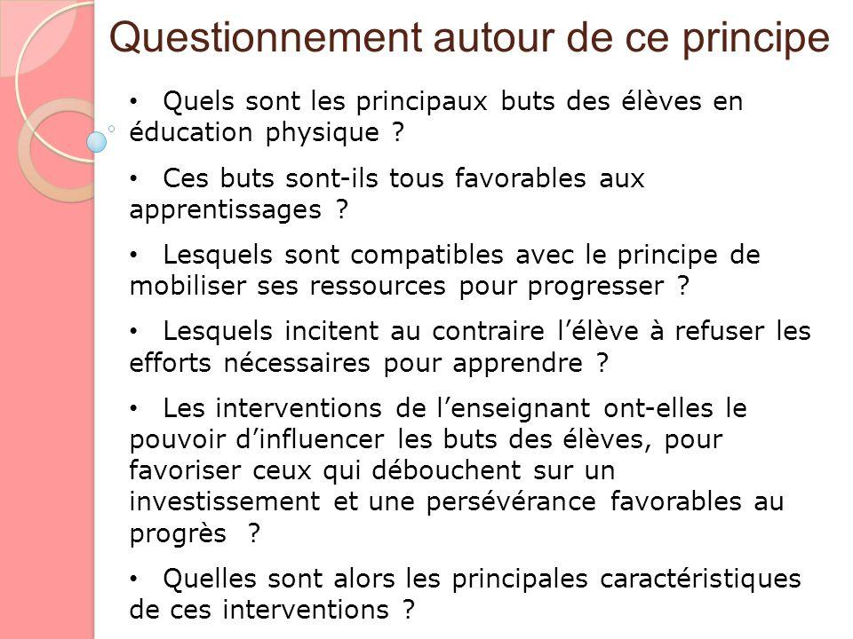 Questionnement autour de ce principe Quels sont les principaux buts des élèves en éducation physique ? Quels sont les principaux buts des élèves en éd