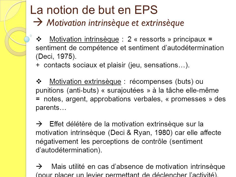 Motivation intrinsèque et extrinsèque Motivation intrinsèque et extrinsèque La notion de but en EPS Motivation intrinsèque : 2 « ressorts » principaux