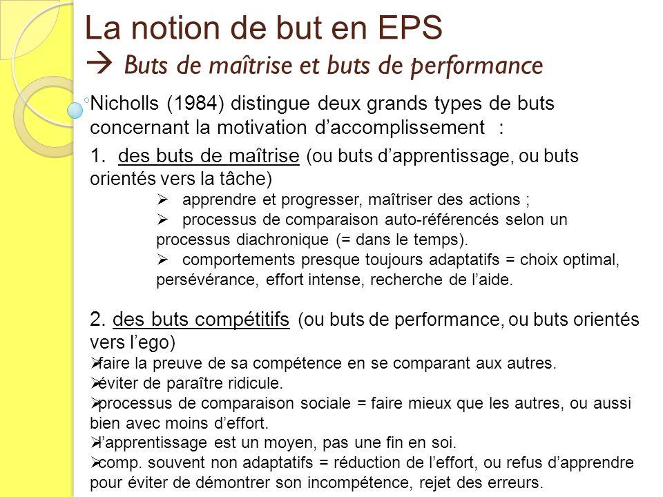 Buts de maîtrise et buts de performance Buts de maîtrise et buts de performance La notion de but en EPS Nicholls (1984) distingue deux grands types de