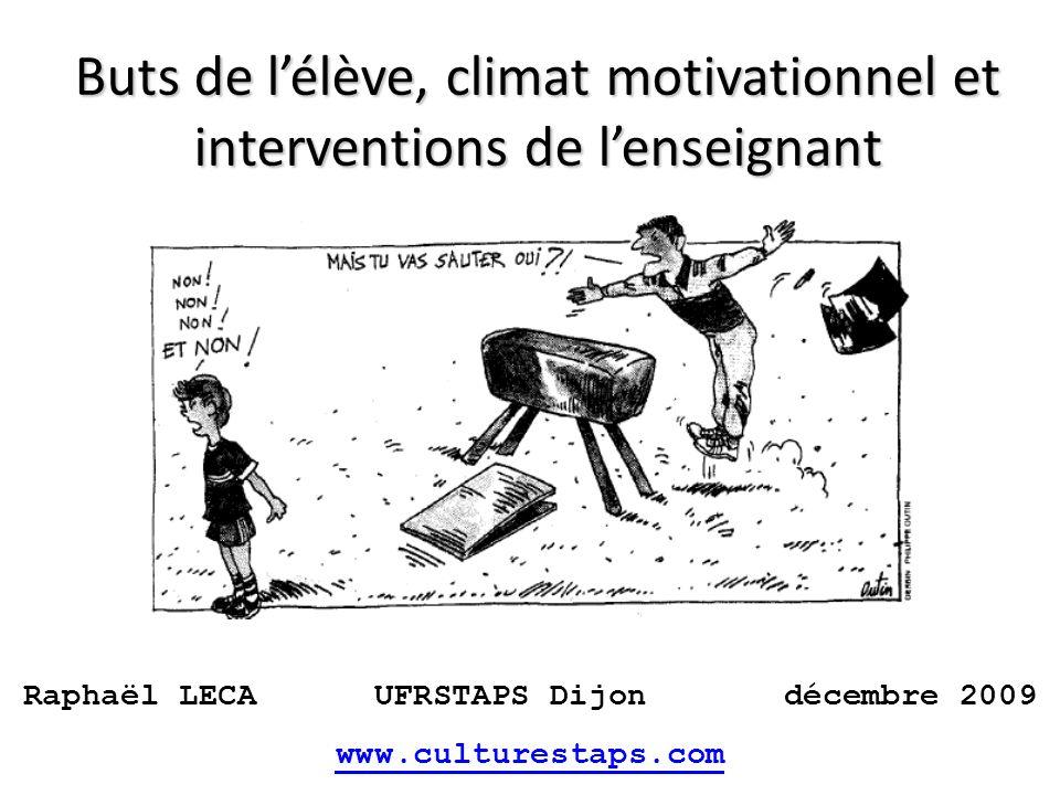 Buts de lélève, climat motivationnel et interventions de lenseignant Raphaël LECA UFRSTAPS Dijon décembre 2009 www.culturestaps.com