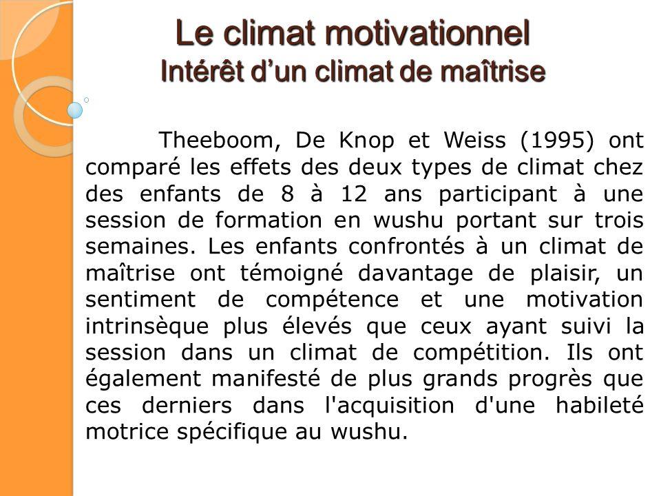 Le climat motivationnel Intérêt dun climat de maîtrise Theeboom, De Knop et Weiss (1995) ont comparé les effets des deux types de climat chez des enfa
