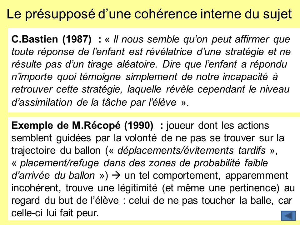 Le présupposé dune cohérence interne du sujet C.Bastien (1987) : « Il nous semble quon peut affirmer que toute réponse de lenfant est révélatrice dune