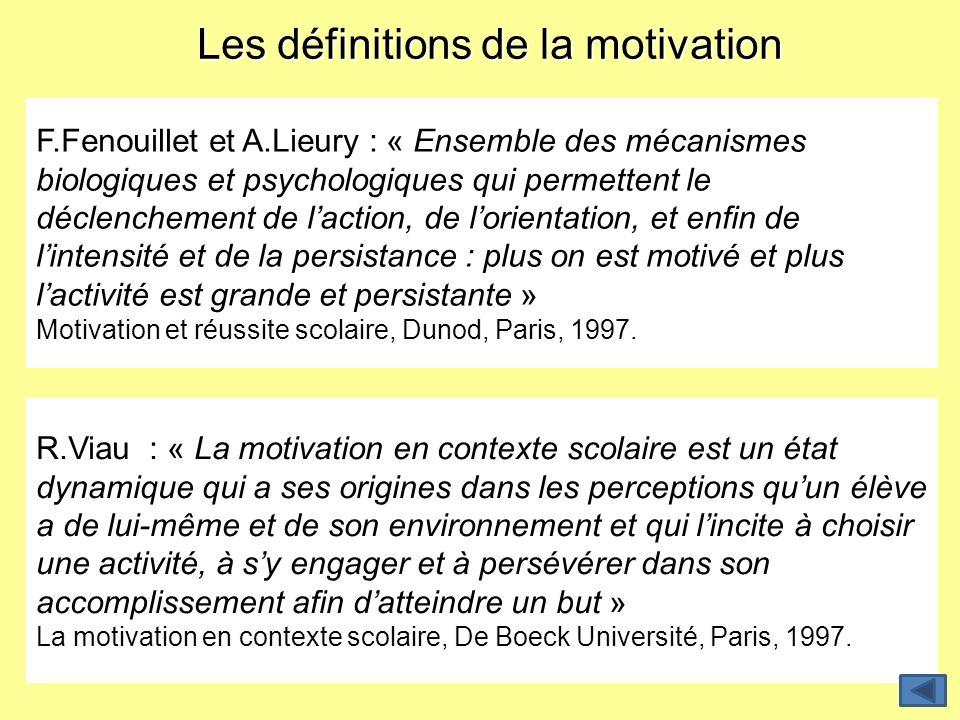 Les définitions de la motivation F.Fenouillet et A.Lieury : « Ensemble des mécanismes biologiques et psychologiques qui permettent le déclenchement de